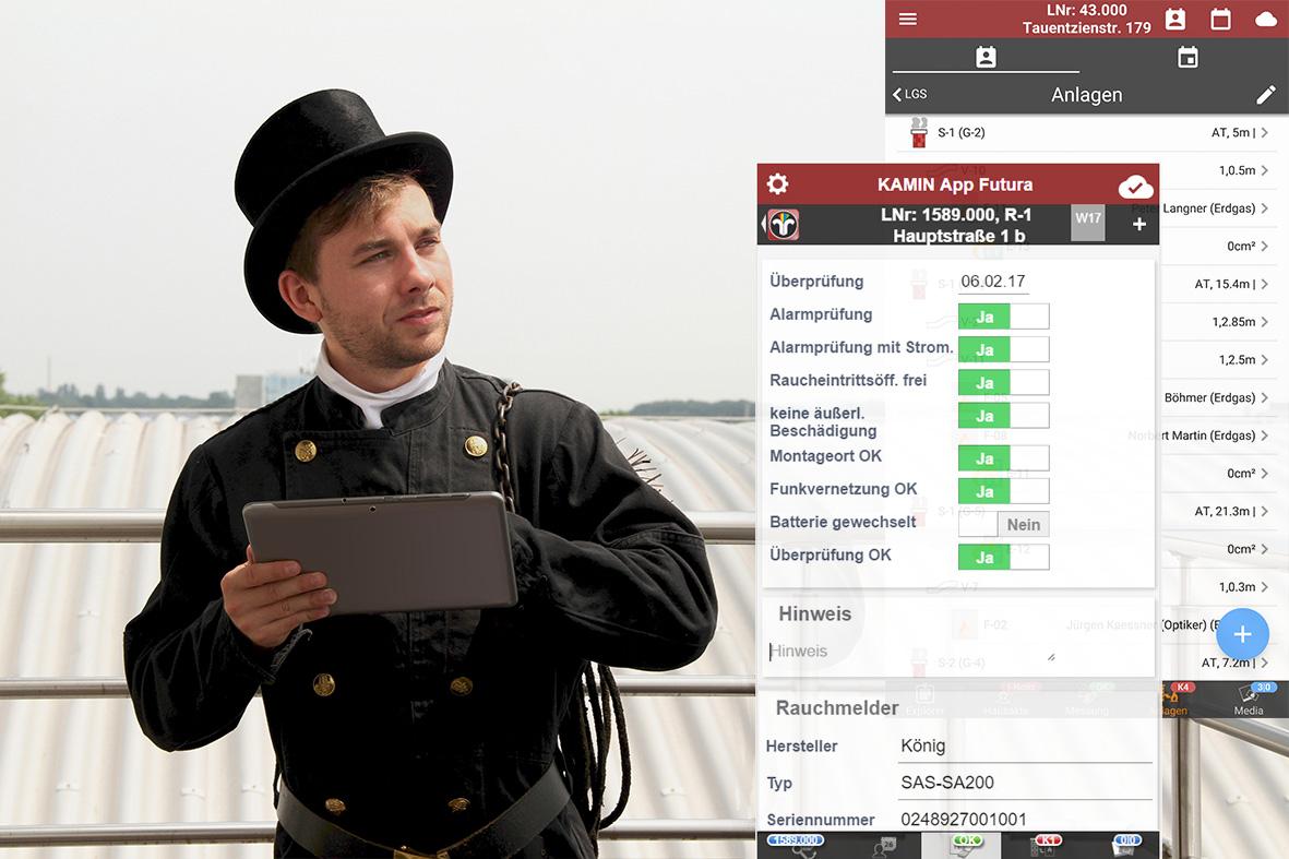 Mit Kamin futura verbinden Sie Ihre Schornsteinfeger Software mit der Schornsteinfeger App