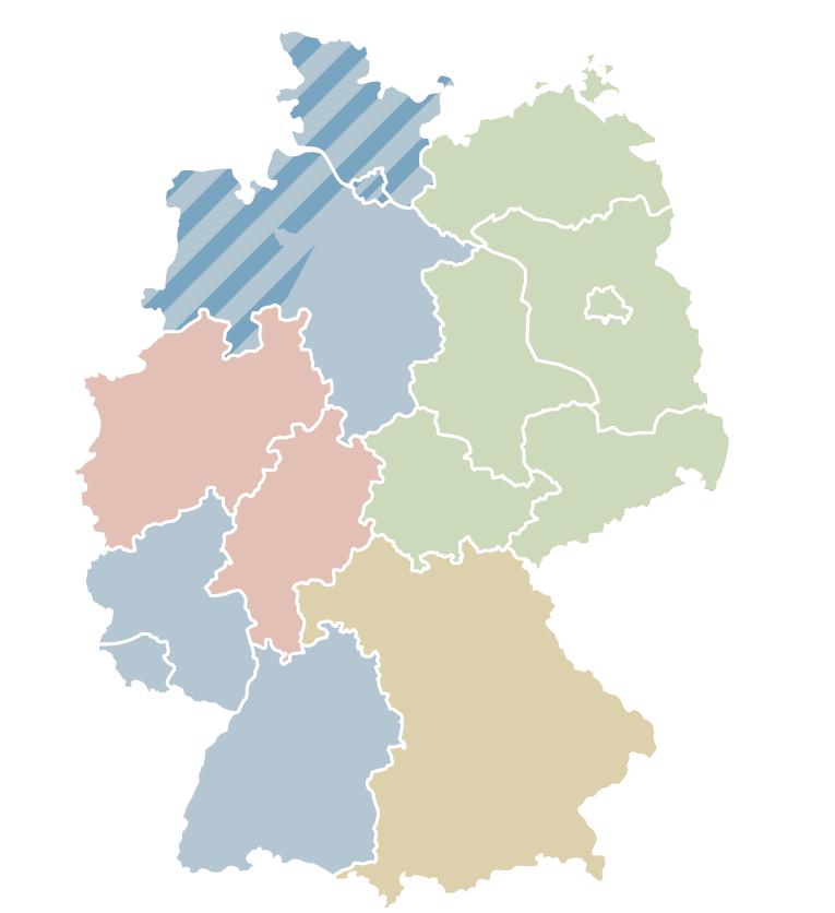 Deutschlandkarte mit Vertriebsbereichen